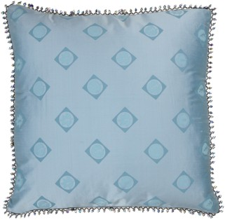Set of Two Modern Pillows T-1208F Sky Blue Hand Made 100% Silk Rizzy Textiles