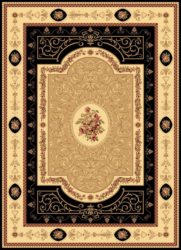 Rugs America New Vision 1365 Aubusson Black