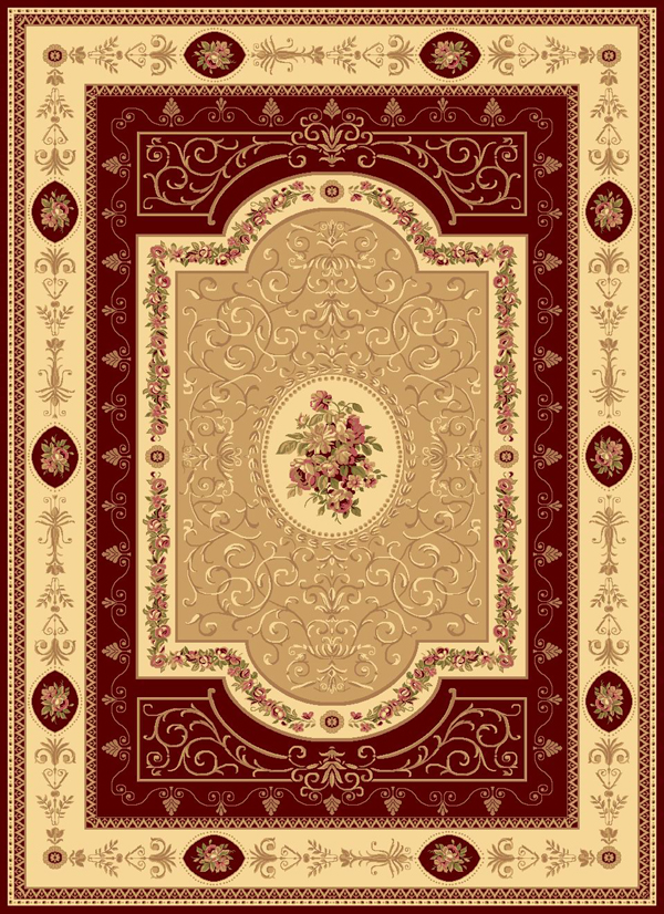 Rugs America New Vision 1365 Aubusson Cherry