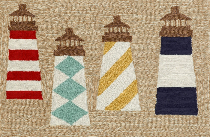 Trans-Ocean Frontporch 1401/12 Lighthouses Natural Rug