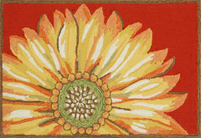 Trans-Ocean Frontporch 1417/24 Sunflower Red Area Rug