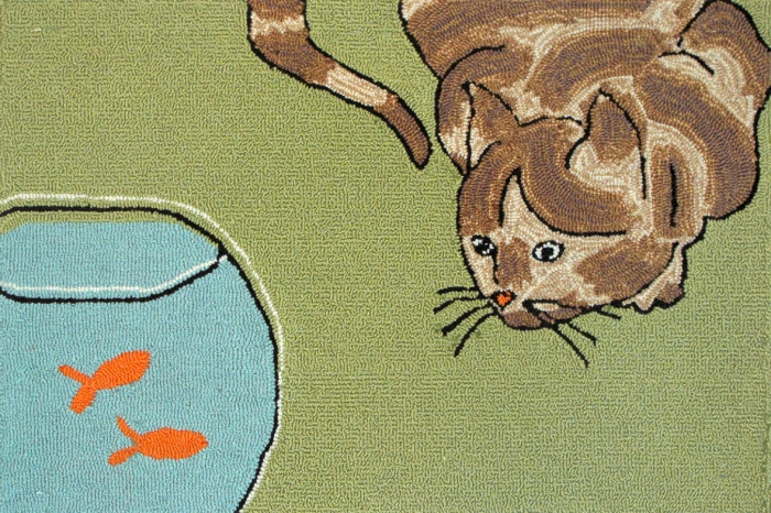 Trans-Ocean Frontporch 1430/06 Curious Cat Green Rug