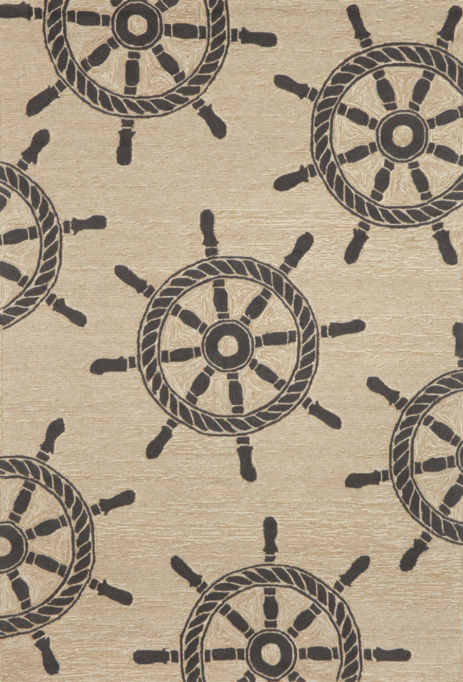 Trans-Ocean Frontporch 1456/48 Ship Wheel Black Area Rug