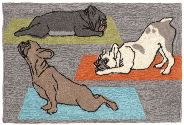 Trans-Ocean Frontporch 1488/47 Yoga Dogs Heather Area Rug