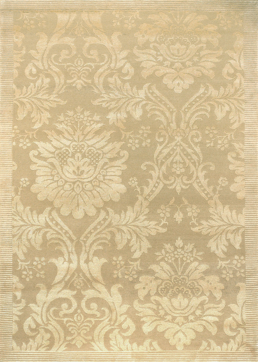 Antique Damask Gold Ivory 8064/0264 Impressions Rug by Couristan