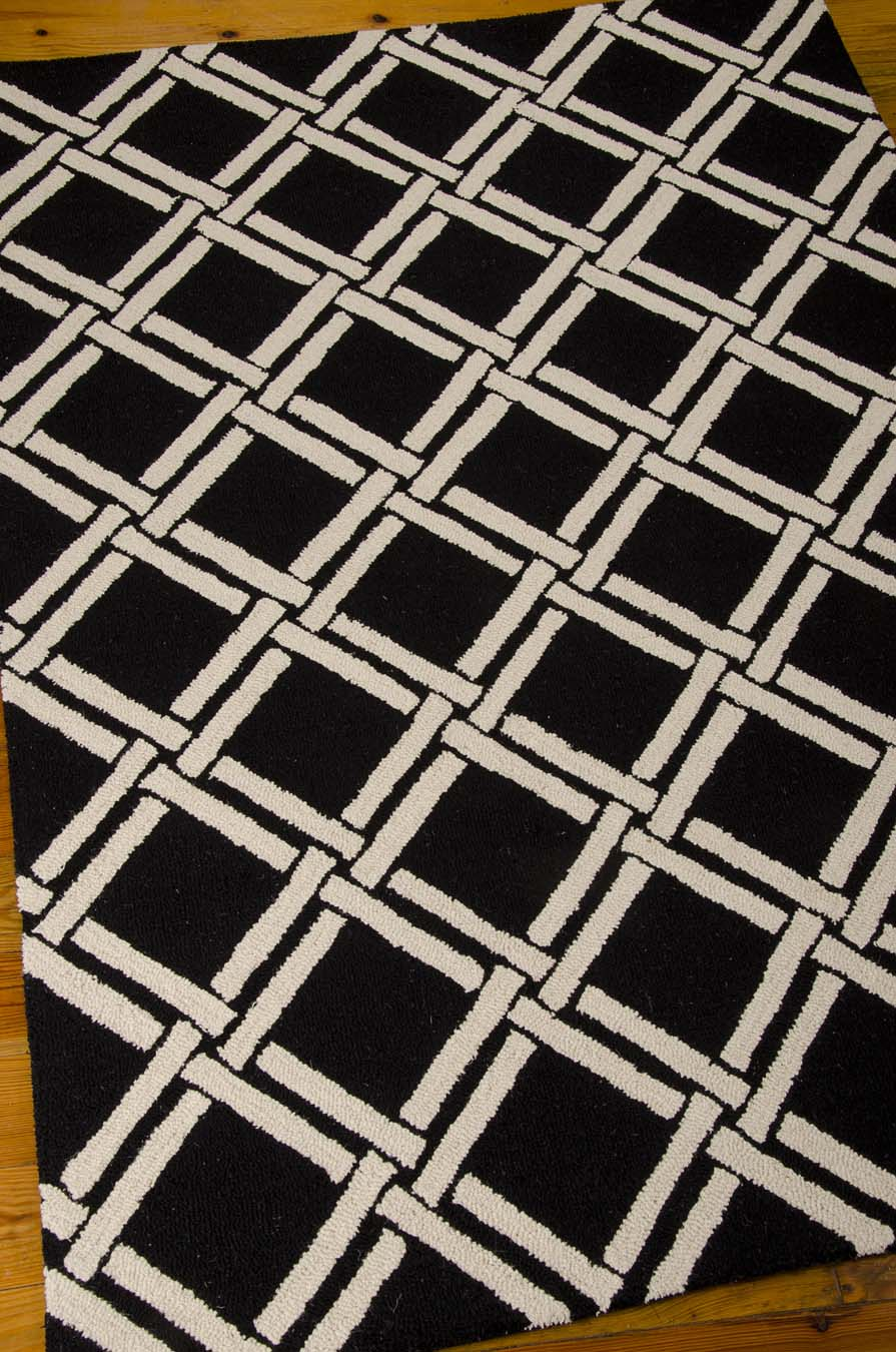 Nourison Linear LIN04 Black White Rug