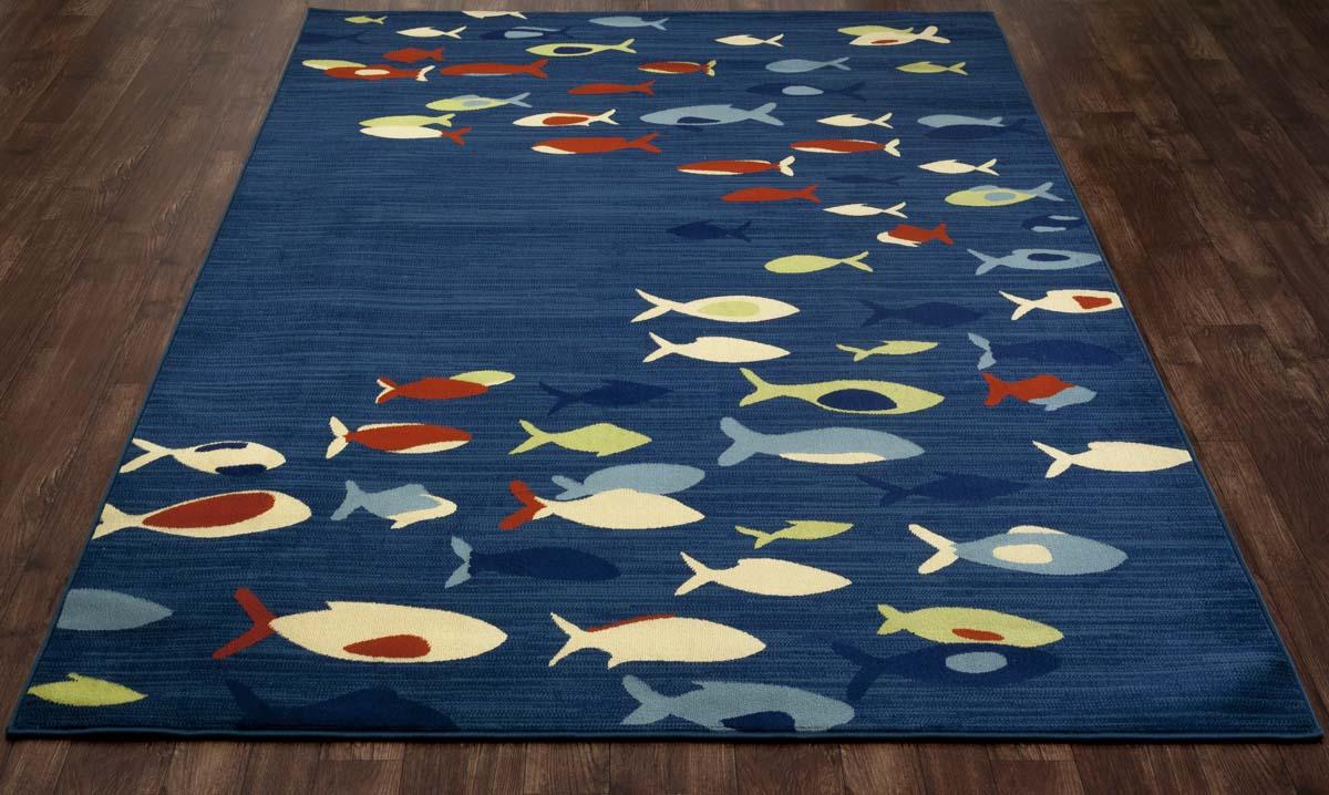 Bayside Fish School Navy Blue Rug