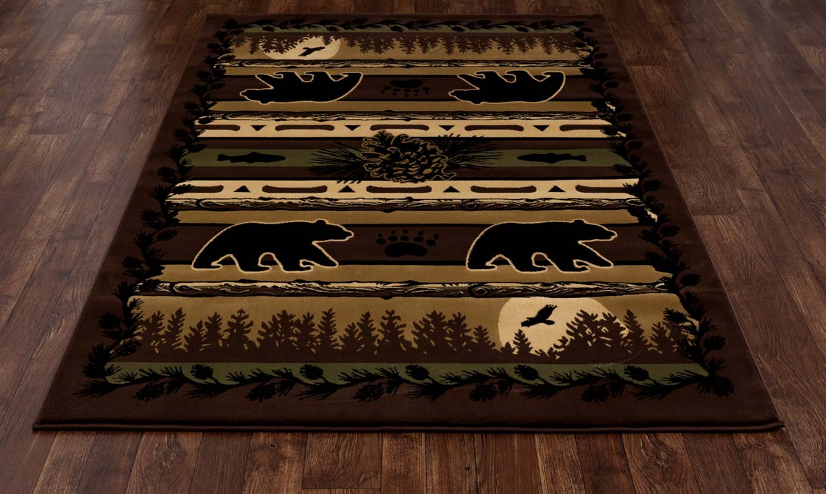 Lakota Grizzly Forest Black Rug
