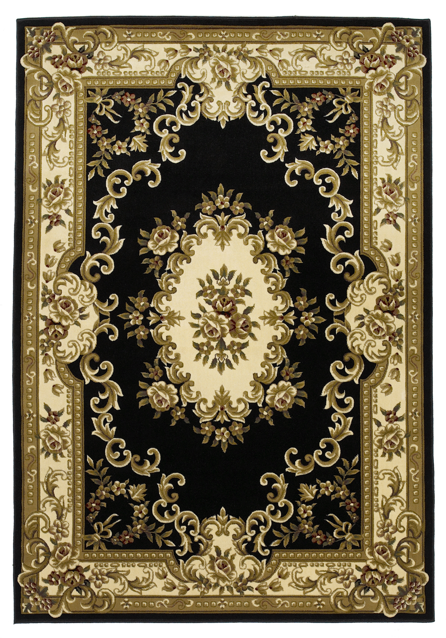 Corinthian 5310 Black/Ivory Aubusson Rug by Kas