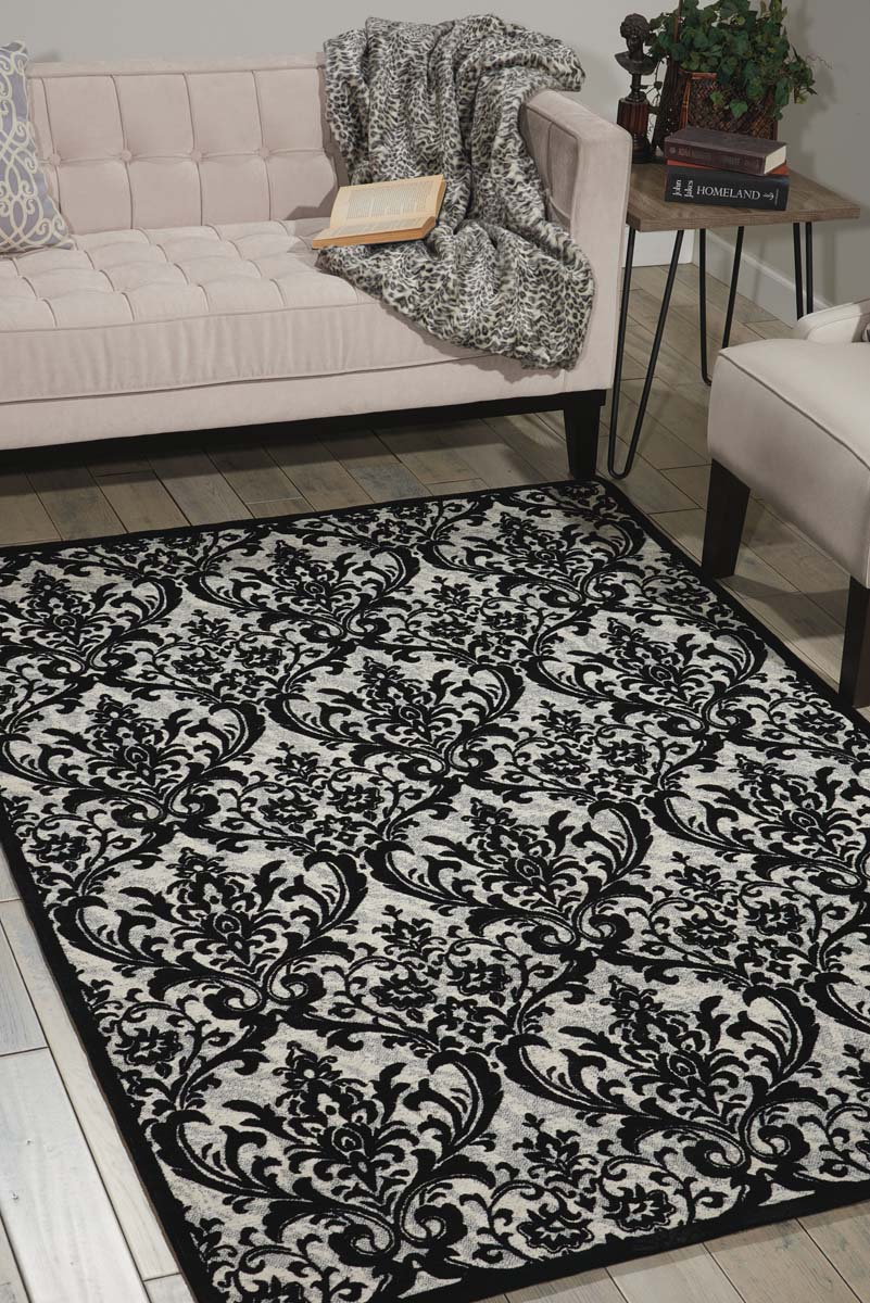 Nourison Damask DAS02 Black/White Rug
