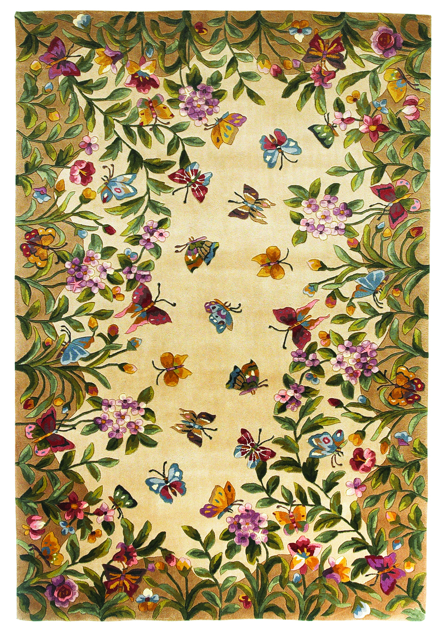 Emerald Butterfly Garden 9019 Antique Beige Rug by Kas