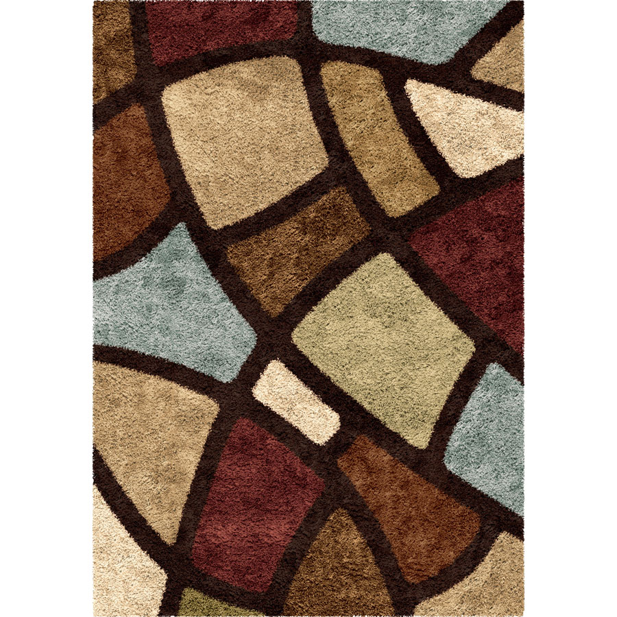 Orian Impressions Shag 3708 Circle Bloom Multi Brown Area Rug