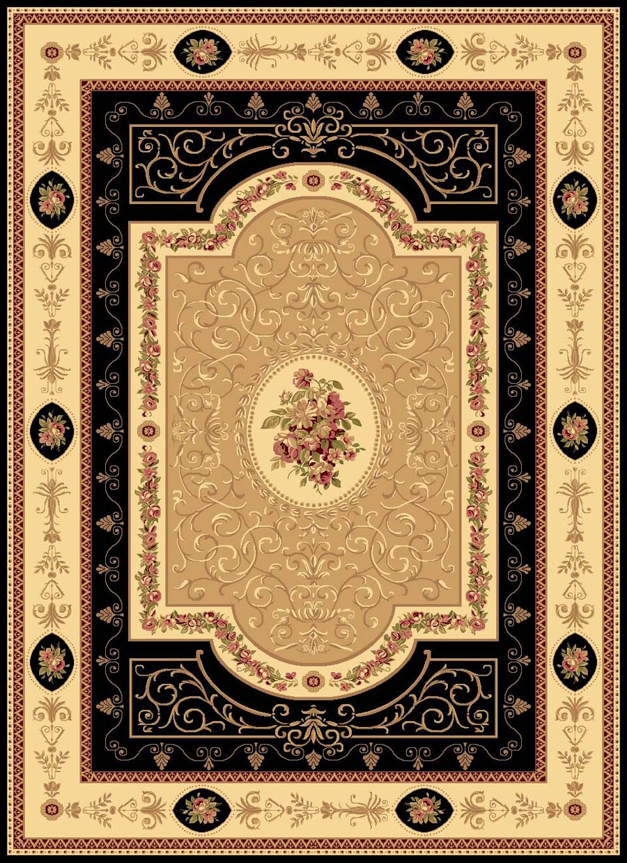 Rugs America New Vision 1365-BLK French Aubusson Black Rug