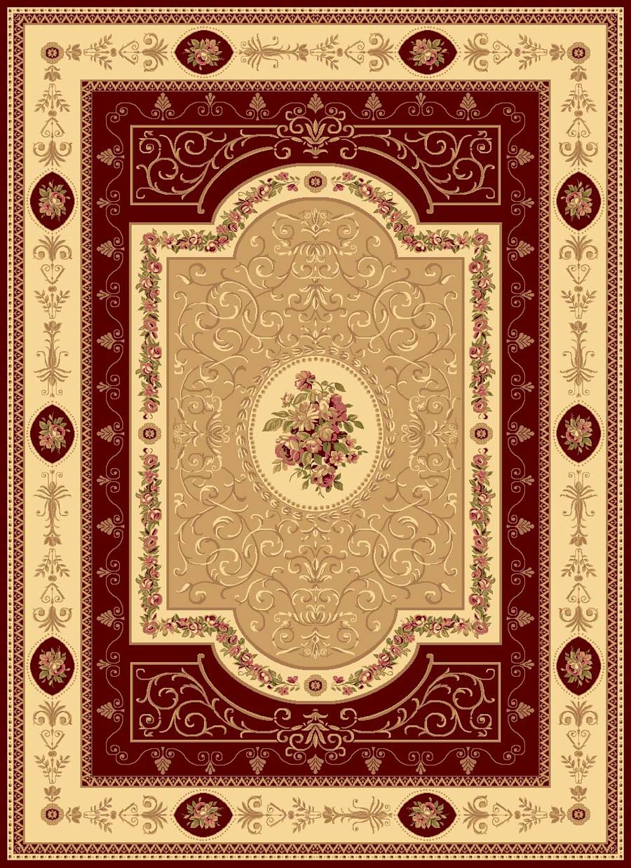 Rugs America New Vision 1365-CHR French Aubusson Cherry Rug
