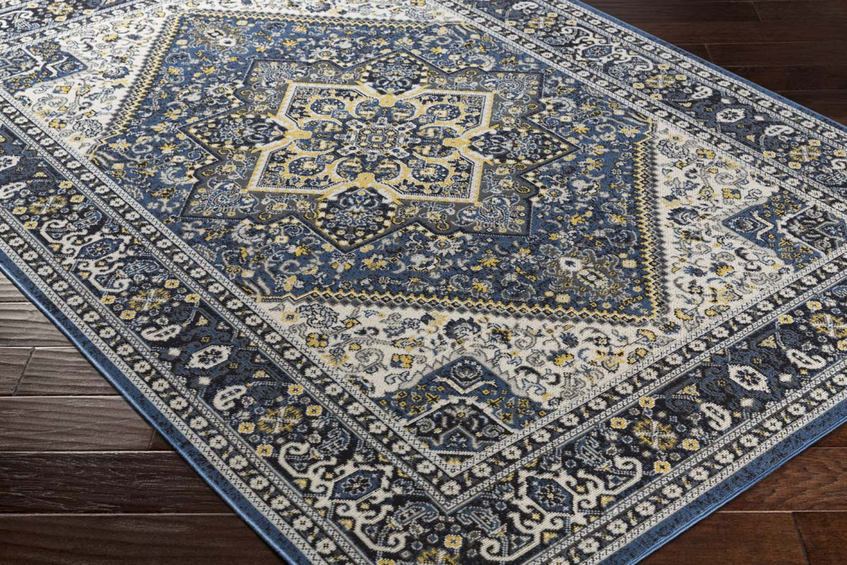 Artistic Weavers Roosevelt ROO-6208 Wheeler Royal Blue Light Yellow Rug