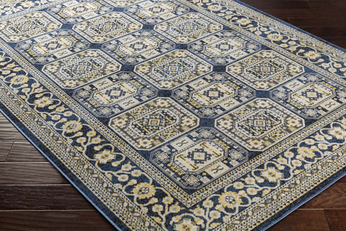Wonderful Artistic Weavers Roosevelt ROO-6213 Albany Navy Blue Light Yellow Rug KM07