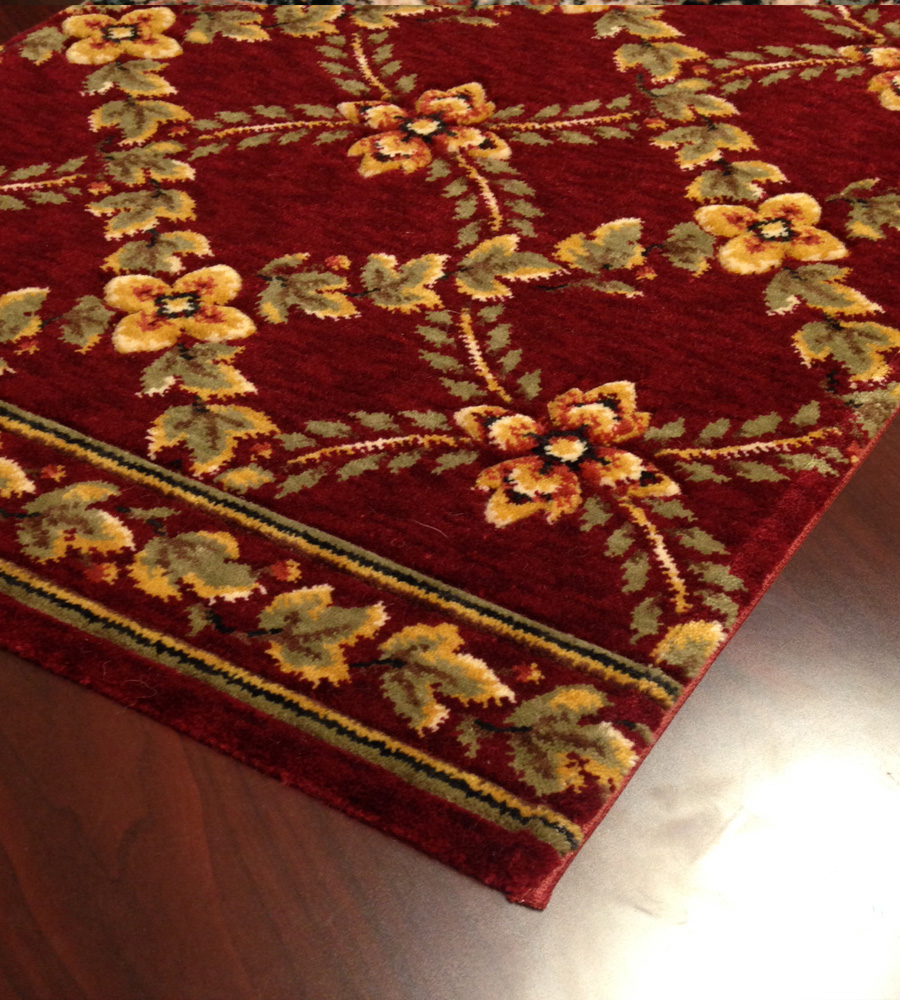Royal Luxury Woodland Trellis 1325/0002a Bordeaux Carpet Stair Runner