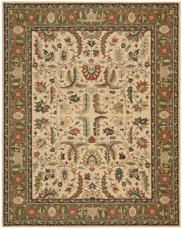 Living Treasures LI14 Ivory Khaki Rug by Nourison