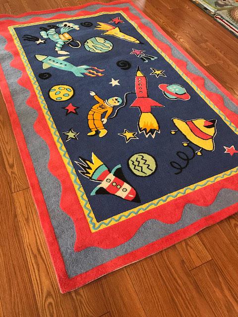 Rocketman Kids Rug 5 X 8 Hooked Wool Chenille