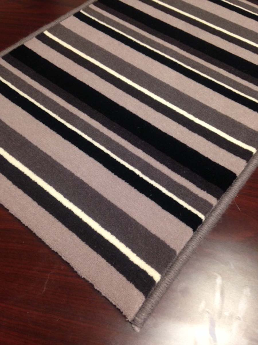 Retro Stripe 2008 15 Charcoal Multi Hallway And Stair Runner