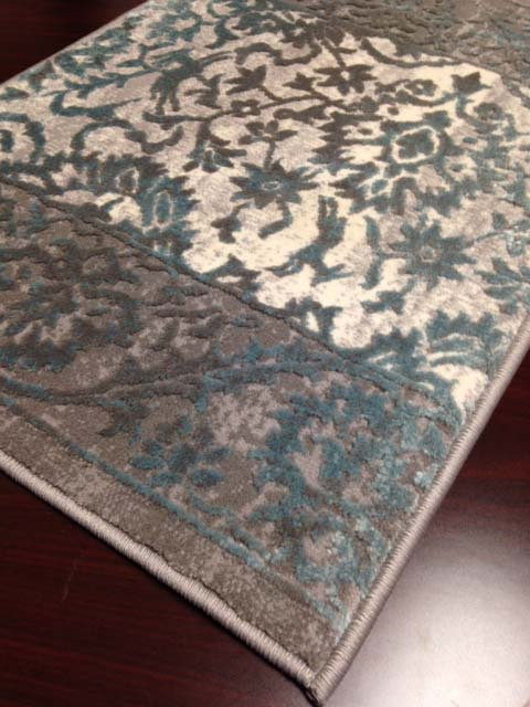 Mormont 2926 Teal Gray Hallway and Stair Runner