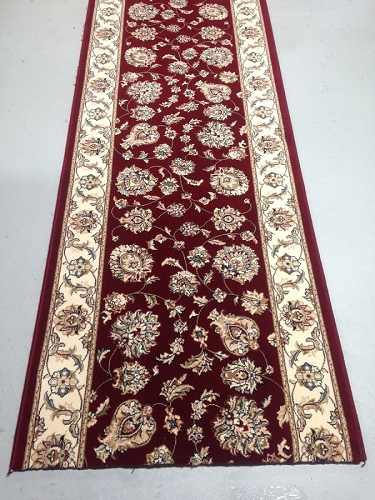 Silhouette Burgundy - 31 Inch Wide Finished Runner - Price is Per Foot
