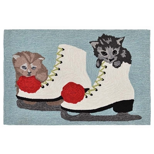 TransOcean Liora Manne Frontporch 1823/11 Skates And Kittens Ice Rug