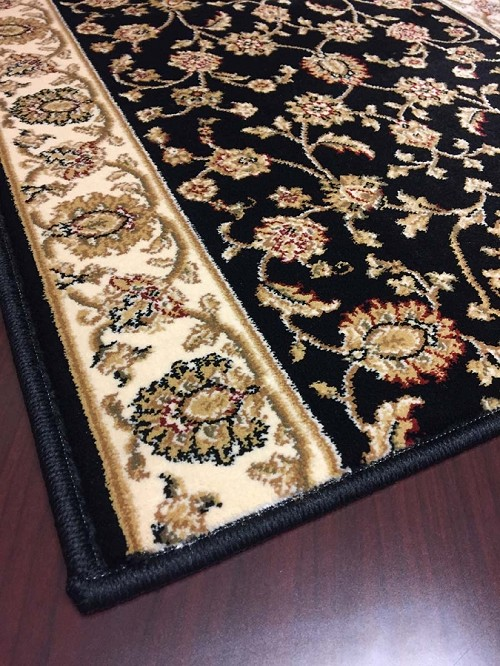 "Cersei 2070BK Hanover Black Carpet Hallway and Stair Runner - 33"" x 16 ft"