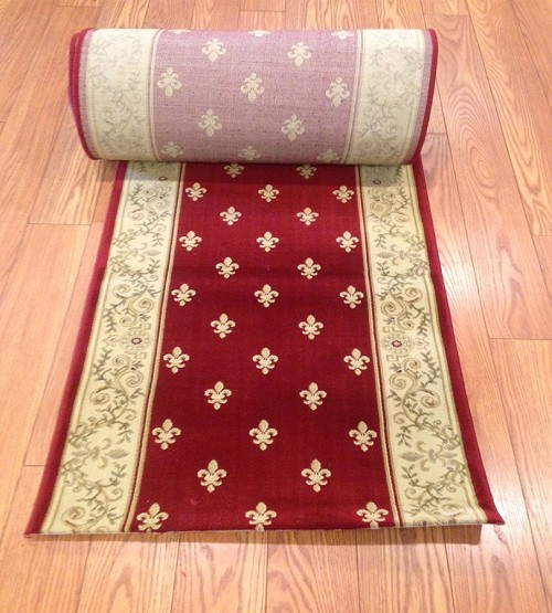 "Fleur De Lis Pattern Ruby Red Runner - Finished Ends Bound - 26"" Wide - Price Per Foot"