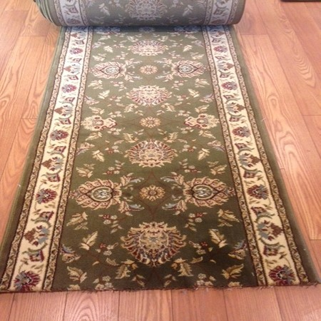 "Truman Olive - 32"" Wide Finished Runner - Price is Per Foot"