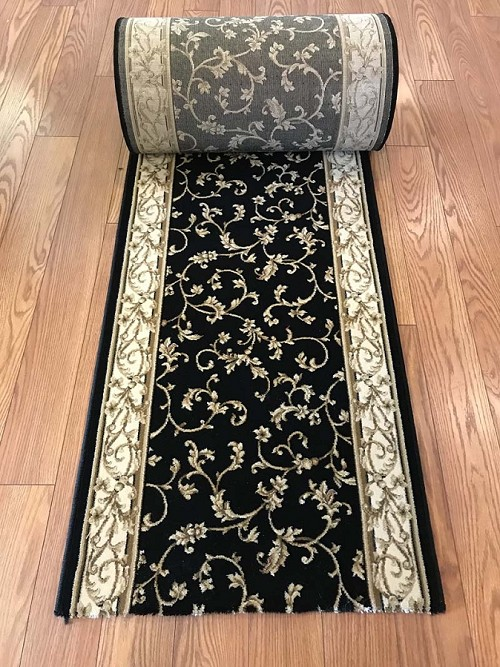 Felix Black - 26 Inch Wide Finished Runner - Price is Per Foot