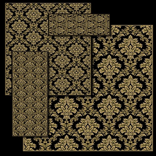 Black Damask Rug Set - 100% Heat Set Polypropylene