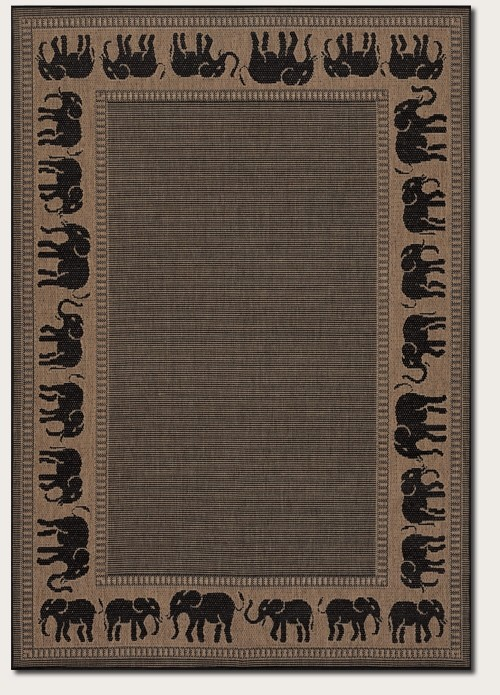 Recife Collection by Couristan: Elephant Cocoa Black 1588/1021 Recife Outdoor Rug by Couristan
