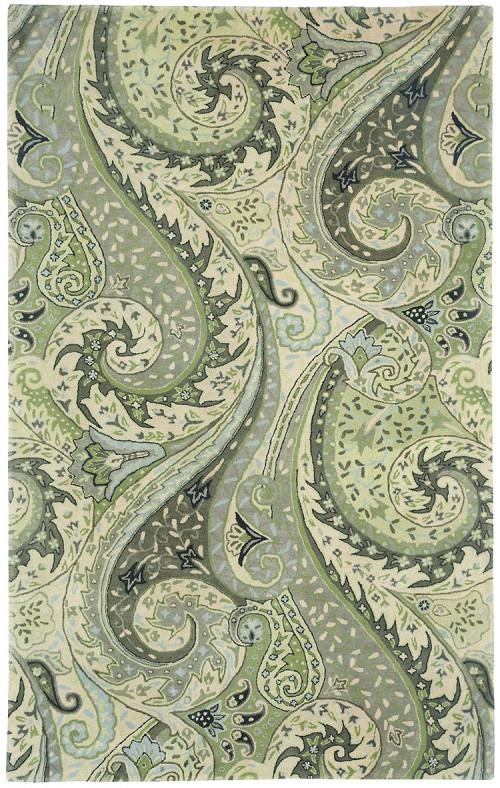 Capel Boteh 3874 200 Leaf Green Rug
