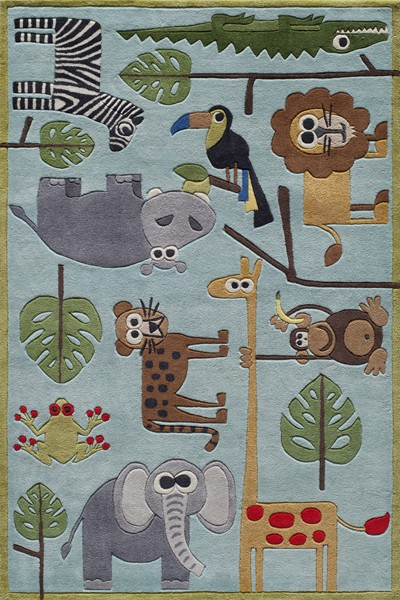 Lil Mo Whimsy LMJ-19 Safari Blue Rug by Momeni