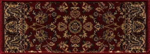Cersei 2067CN Persian Flower Crimson Stair Treads - 9 in x 33 in