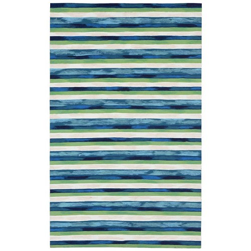 TransOcean Liora Manne Visions II 4313/03 Painted Stripes Cool Blue Rug
